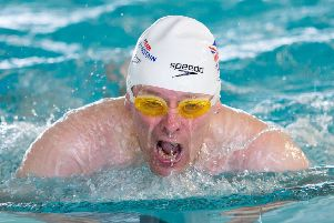Richard Adams of Chirnside at the World Transplant Games, taking part in the 50m breaststroke (picture by Phil Horan)