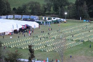 The pop-up campsite for the cyclists at Bellabeg Park