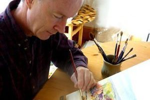 Artist Jonathan Wheeler at work