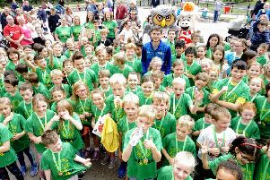 Local hero Robbie Simpson inspires the youngsters taking part in the fun run