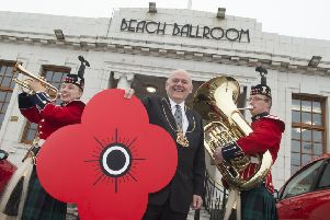 Lord Provost Barney Crockett with Lance Corporal Mark Angus and Lance Corporal Natalie Mair. (Photo: Norman Adams)