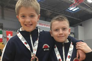 George Hardie (left) and friend Fraser Mitchell look suitably chuffed with their Euro bronze medals