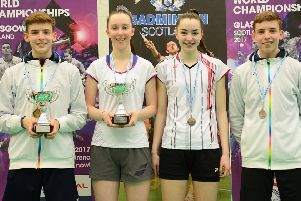 Sarah (left) is pictured with doubles partner Lauren Middleton