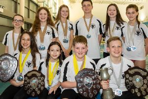 Lanark swimmers managed an impressive medal and trophy haul from their trip to Irvine! (Pic by Stuart Stevenson)