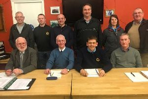 Captain Hector Whitelaw with his Port Bannatyne Golf Club committee for season 2019/20