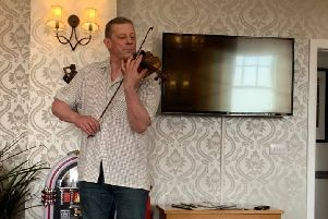 Paul Anderson during his impromptu performance at the care home