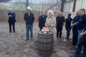 The Duchess of Rothesay cut a commemorative cake during her visit to Horseback UK