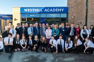 A group photograph to celebrate Westhill Academy's 40th anniversary