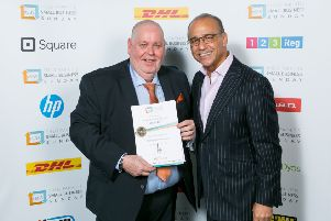 Tillycroy Support Services owner Alister Clark with Theo Paphitis