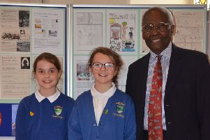 Sir Geoff Palmer with Finzean pupils at the book launch