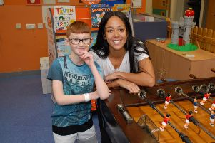 Katarina Johnson Thompson with 10-year-old Morgan Masson