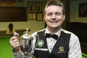 Craig MacGillivray shows off the East of Scotland Snooker Championship trophy. Pic: Greg Macvean