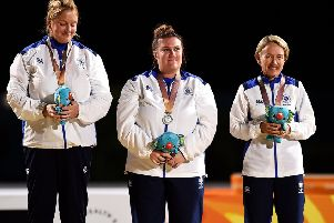 Silver medalists Caroline Brown, Stacey McDougall and Kay Moran