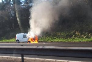 A white van was on fire on the M8. Picture; contributed