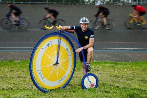 Record-breaking long-distance cyclist Mark Beaumont prepares to take on the R.White's Lemonade Penny Farthing One Hour World Record next month at the World Cycling Revival festival. Pic: Ben Queenborough