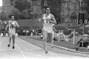 Athlete Allan Wells in the 100m race at the Scottish Athletic Championships at Meadowbank Stadium in Edinburgh, June 1980