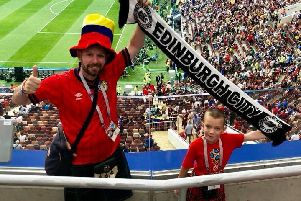 Iain Meiklejohn and son Aleks at the World Cup Final