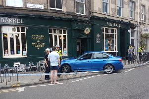 The car mounted the kerb before hitting the building. Picture: TSPL