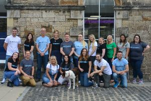 People's Energy staff held a brunch for Harrison's Fund ' and even office dog Albus joined in