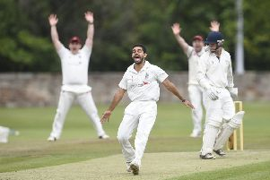 Aman Bailwal from Watsonians celebrates a LBW against Heriot's. Pic: Greg Macvean