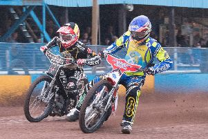 Monarchs' Richie Worrall leads Broc Nicol of Sheffield Tigers. Ron MacNeill