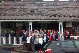 Public meeting to discuss the proposals for Portobello Golf Club'. Huge turnout meant they had to move out the meeting room and on to the pavilion steps.