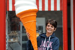 June Roberts owner of ice cream parlour, called Favours Candy Emporium, on Portobello High Street,