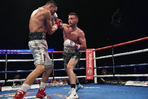 23/06/18 WBC SUPER LIGHTWEIGHT FINAL ELIMINATOR ' JOSH TAYLOR v VIKTOR POSTOL' SSE HYDRO - GLASGOW' Josh Taylor connects with a jab on Viktor Postol (left)
