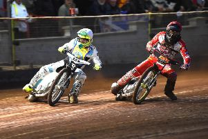 Monarchs' skipper Erik Riss struggles to keep Craig Cook at bay in the sixth race. Pic: Ron MacNeill