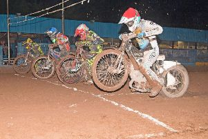 Erik Riss and William Lawson (blue) get away from David Howe and Aaron Summers in heat 11. Pic: Ron MacNeill