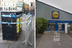 Grassmarket cordoned off after death in wood behind Lidl supermarket in Dalry