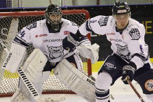 Steeldogs player coach, Ben Morgan, right, scored the second goal for the Sheffield team