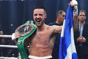 Josh Taylor celebrates after winning the fight in the seventh round