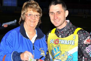 Ella MacDonald with Edinburgh Monarchs title winning Captain, Derek Sneddon.