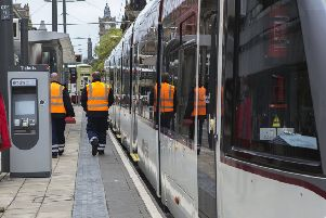 A pedestrian fell on to the tram tracks on Princes Street on Thursday. Picture: TSPL