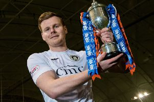 Blair Henderson, who scored against Alloa, with the Irn-Bru Cup. Picture: SNS Group