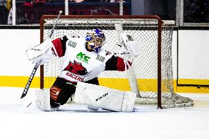 Murrayfield Racers netminder Mark McGill was kept busy against Billingham Stars