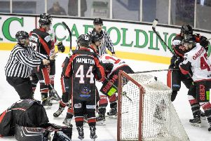 Tempers fray as Murrayfield Racers defeat Paisley Pirates. Picture: Ian Coyle