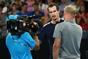 Andy Murray is interviewed after his defeat in the Australian Open. Picture: Getty