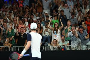 Spectators encourage Andy Murray during his first round match against Roberto Bautista Agut. Picture: Getty