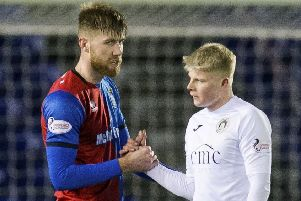 Calum Hall, right, shakes hands with Inverness CT's Shaun Rooney