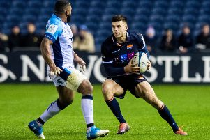 Blair Kinghorn in action for Edinburgh during the Champions Cup win over Montpellier. Picture: SNS