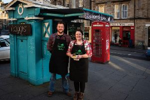 Haggis box owners cousins Laura and Peter Sutherland.