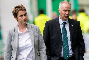Hibs chief executive Leeann Dempster and director of football George Craig. Picture: SNS