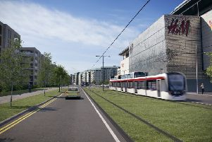 What the tram might look like passing 'Ocean Terminal.''Pic: Edinburgh Council