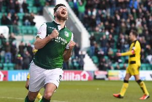 Marc McNulty celebrates his goal for Hibs. Pic: SNS