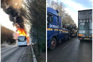 Dramatic video footage shows the flames coming from the school bus.