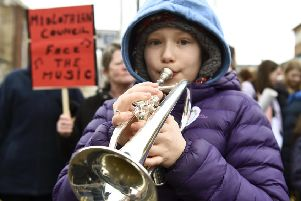 A musical flash mob gathered outside the council chambers in Dalkeith. Picture: Lisa Ferguson
