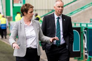 Hibernian Chief Executive Leeann Dempster and the club's head of football operations George Craig. Picture: SNS/Ross Parker