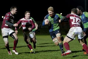 Rory Hutton and Andrew Chalmers of Watsonians challenge Craig Keddie of fellow Super 6 team Boroughmuir at Myreside in December last year. PIcture: SNS Group